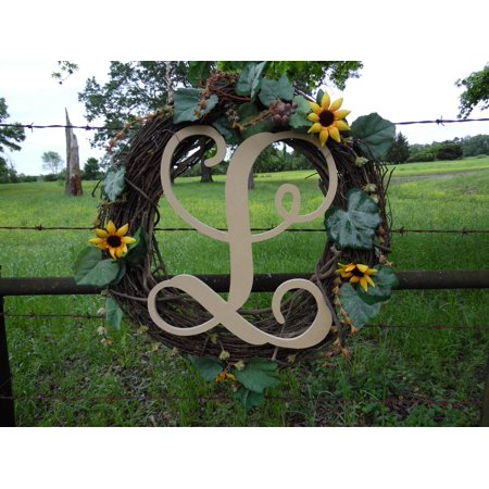 Wooden Letter Vine (L) Unfinished Wood Craft Letter, Paintable Wall Decor