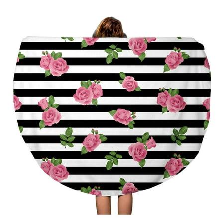 SIDONKU 60 inch Round Beach Towel Blanket Green Spring Rose Stripe Pattern Pink Abstract Beauty Black Travel Circle Circular Towels Mat Tapestry Beach Throw