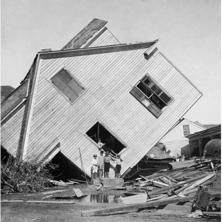 Footed Hurricane (A House Tipped On Side After The 15 Foot Storm Surge Of The Galveston Hurricane Of Sept 1900 Five Boys Pose In Front Of The House On Avenue N History )