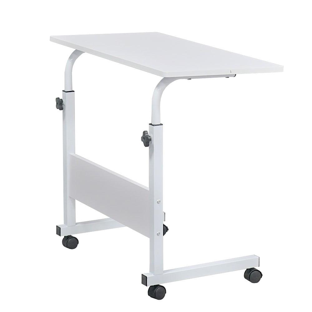 Bed Side Table Rolling Wheels Adjustable Movable Laptop Computer Stand Desk
