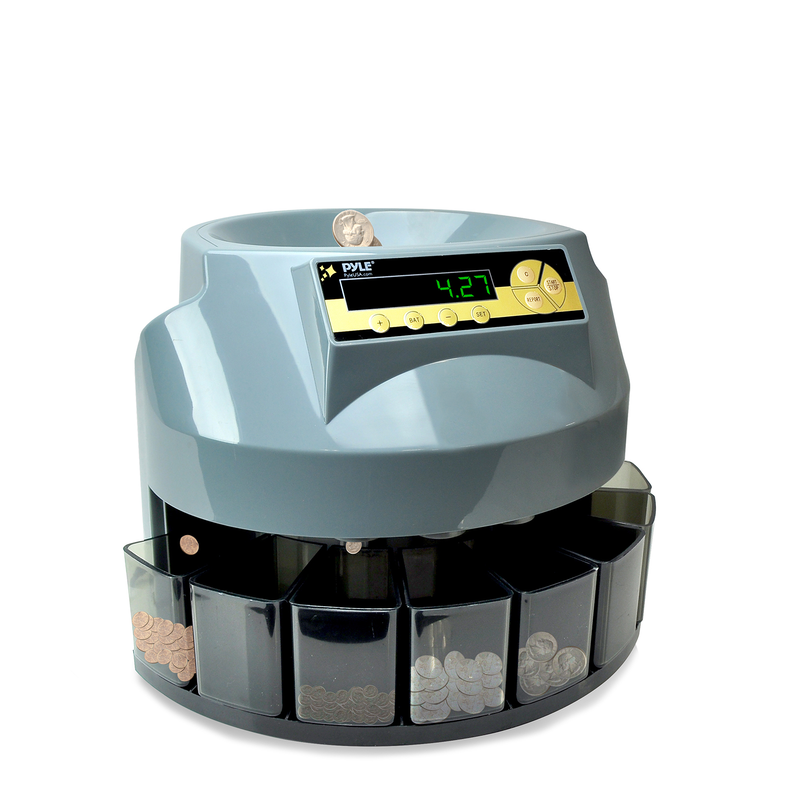 Pyle 2-in-1 Automatic Coin Counter & Sorter - Coin Counting & Sorting Machine