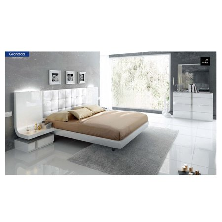 ESF Granada Chic White Grey Lacquer King Size Bedroom Set 5Pcs Made in Spain
