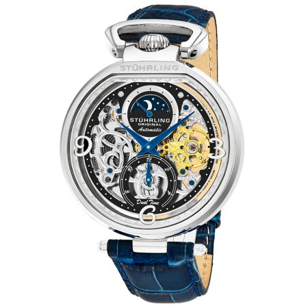 Men's automatic 889.01 dual time watch, silver case, black skeleton dial, blue genuine leather strap ()