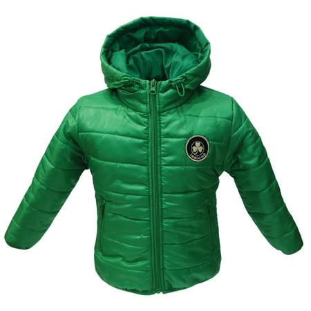 Green Ireland Shamrock Puff Kids Jacket