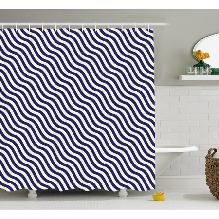 Navy Blue Decor Shower Curtain Wave Like Striped Lined Design On Dark Background Artwork