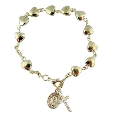 Silver Tone Heart Shape Bead Rosary Bracelet with Miraculous Medal Charm, 7 Inch