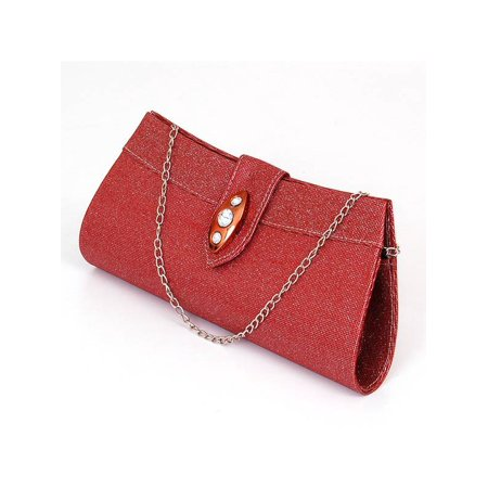 Womens Evening Bag Clutch Handbag Beaded Rhinestone Purse Wallet Formal Party NW Red One (Beaded Handbag)