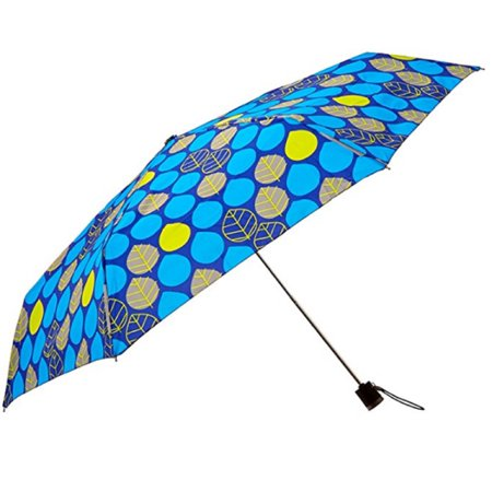 Totes Light N' Go Trekker Umbrella With Manual Open Blue/Yellow Leaves - 39
