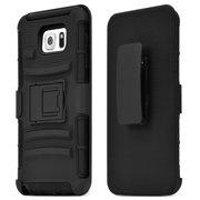 Samsung Galaxy Note 5 Case, [Standard Black] Supreme Protection Hard Plastic Case w/ Kickstand on Silicone Skin