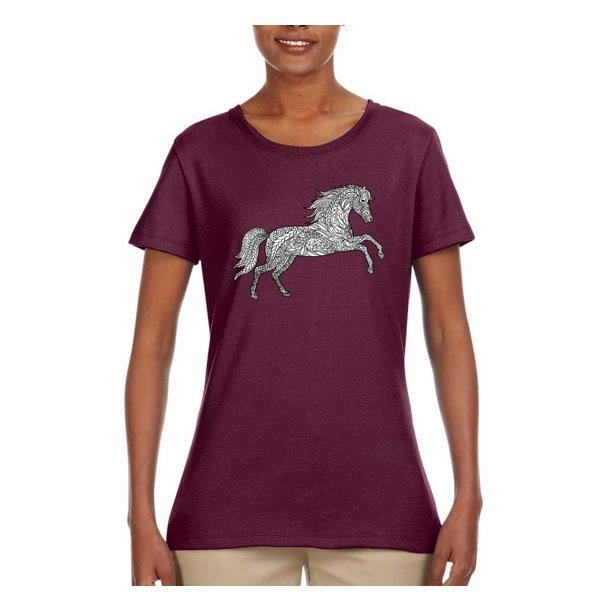 Wild Bobby Black And White Mosaic Retro Mandala Wild Horse Animal Lover Womens Graphic T Shirt Maroon 3xl Walmart Com Walmart Com
