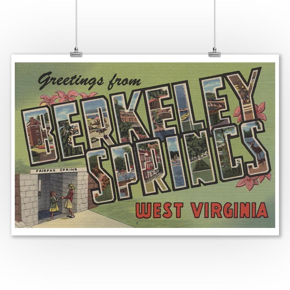 Berkeley Springs, West Virginia - Large Letter Scenes (9x12 Art Print, Wall Decor Travel Poster)
