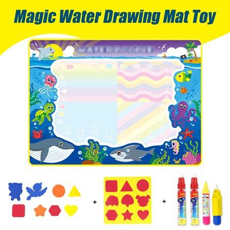 3Size Christmas Aqua Doodle Children Water Drawing Toys Painting Mat Magical Pen Educational Toy 1 Mat+ Water Drawing Pen - image 7 de 9