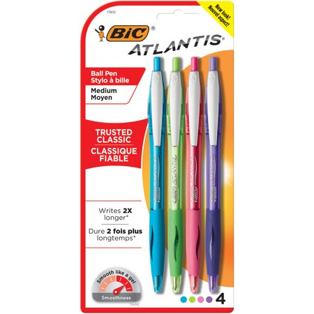 BIC Atlantis Original Retractable Ballpoint Pen, Assorted Ink, Medium, 1mm, 4/Pack