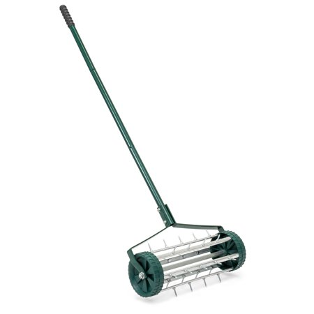 Best Choice Products 18in Rolling Lawn Aerator Gardening Tool for Grass Maintenance, Soil Care w/ Tine Spikes, 50in Handle - Dark