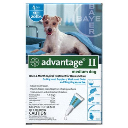 Advantage Ii Flea And Tick Monthly Treatment For Medium Dogs  4 Treatments