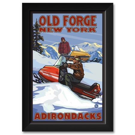 12 Vintage Swarovski Art - Old Forge New York Vintage Snowmobiliers Framed Art Print by Paul A. Lanquist. Print Size: 12