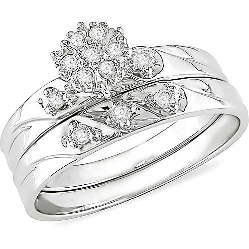Miabella 1/7 Carat T.W. Round Diamond Engagement Ring in 10kt White Gold