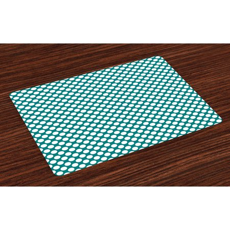Teal Placemats Set of 4 Polka Dotted Pattern Traditional Style European Inspired and Vibrant Colored Image, Washable Fabric Place Mats for Dining Room Kitchen Table Decor,Teal White, by Ambesonne ()