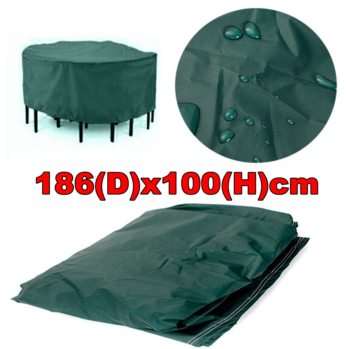 """Furniture Cover Round Outdoor Home Garden Protect Patio Table Chair Green 73"""" x 39"""" Polyethylene Waterproof Sun Rain chaircover Snow UV Resistant"""