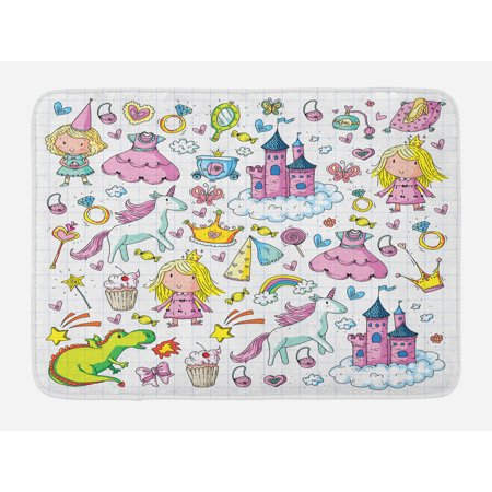 Princess Bath Mat, Bundle of Girls Kids Collection Fairytale Fantasy Characters Castles Accessories, Non-Slip Plush Mat Bathroom Kitchen Laundry Room Decor, 29.5 X 17.5 Inches, Multicolor, - Fairytale Girl Characters