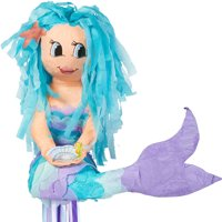 Party City Mermaid Pull String Pinata, 16 x 16 1/2 x 9