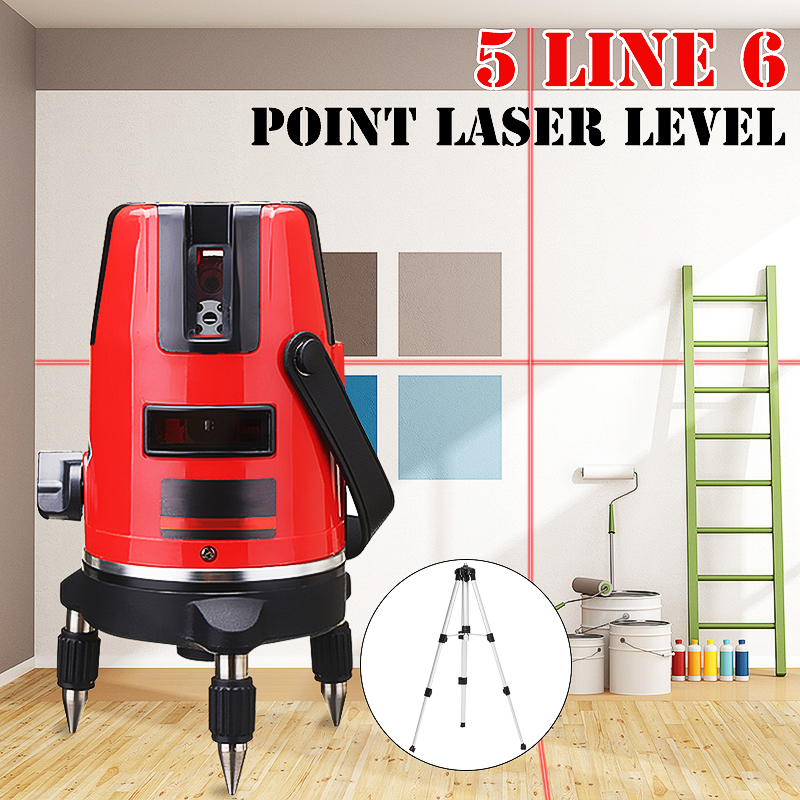 Red 5 Line 6 Point 4V1H Horizontal Vertical Laser Level Professional Automatic Self Leveling Measure 635nm Wave Length With Tripod