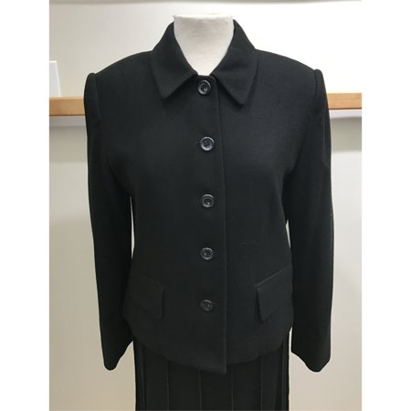 Black Wool Button (Black Button Front Wool Jacket With Flap Packets (Style# 9500F7) )