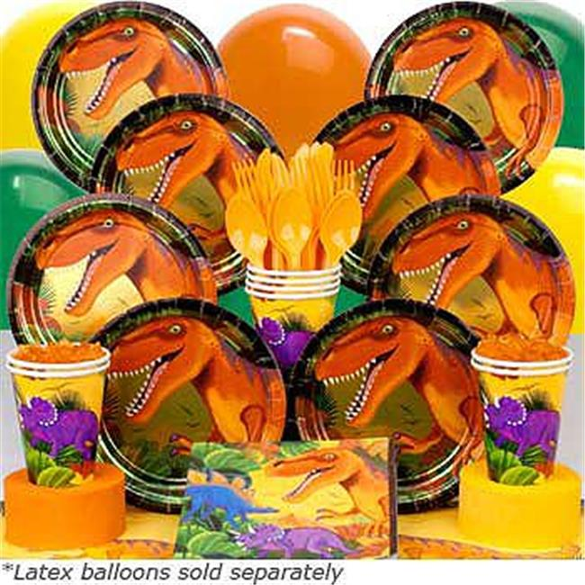 Costume Supercenter BB014080 Dinosaur Party Deluxe Birthday kit  Serves 8 Guests