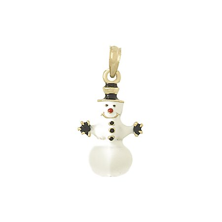 14K Yellow Gold Misc Holiday Charm Pendant, 3-D Snowman With Stick Hands & Enamel