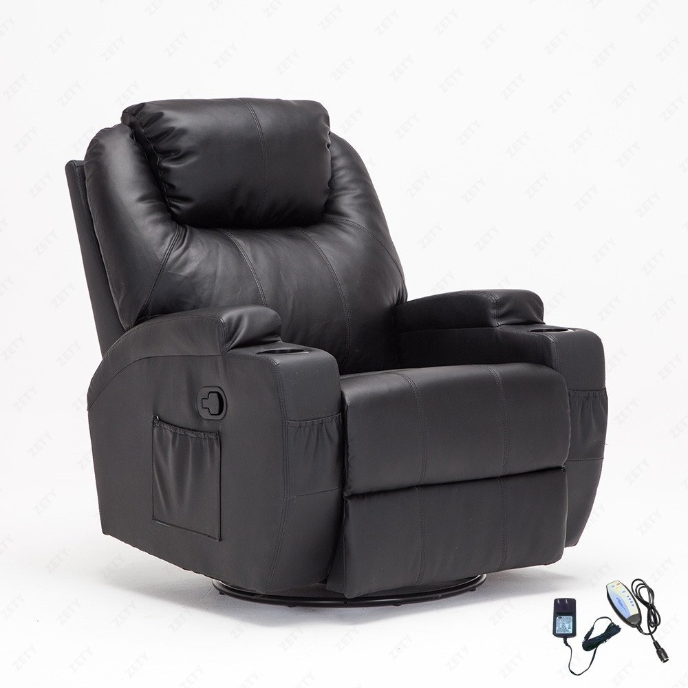 Bon Uenjoy Massage Recliner Leather Sofa Chair Ergonomic Lounge Heated With Cup  Holder 360 Degree Swivel (Black 11 IN 1)   Walmart.com