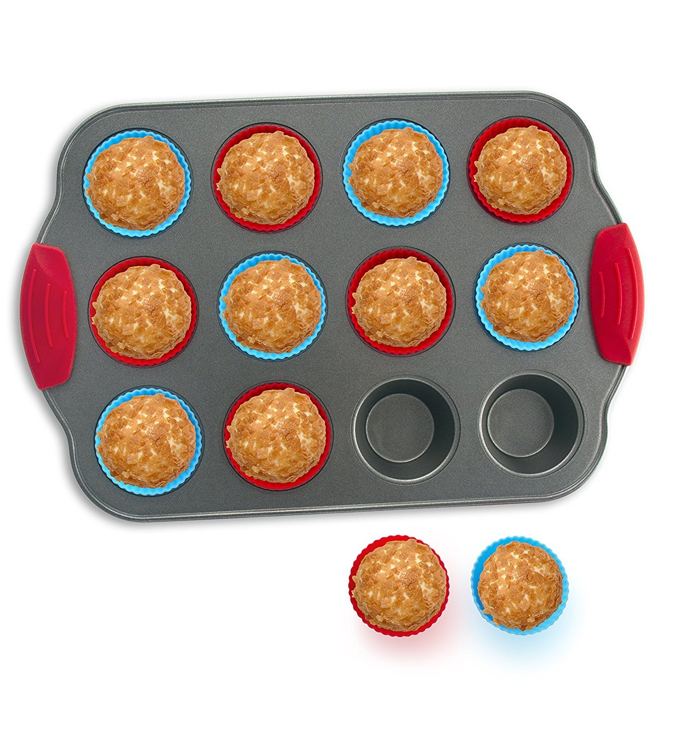 12-Cup Mini Muffin Pan with Silicone Muffin Cups (Set of 12) by Boxiki Kitchen | Professional Nonstick... by Boxiki