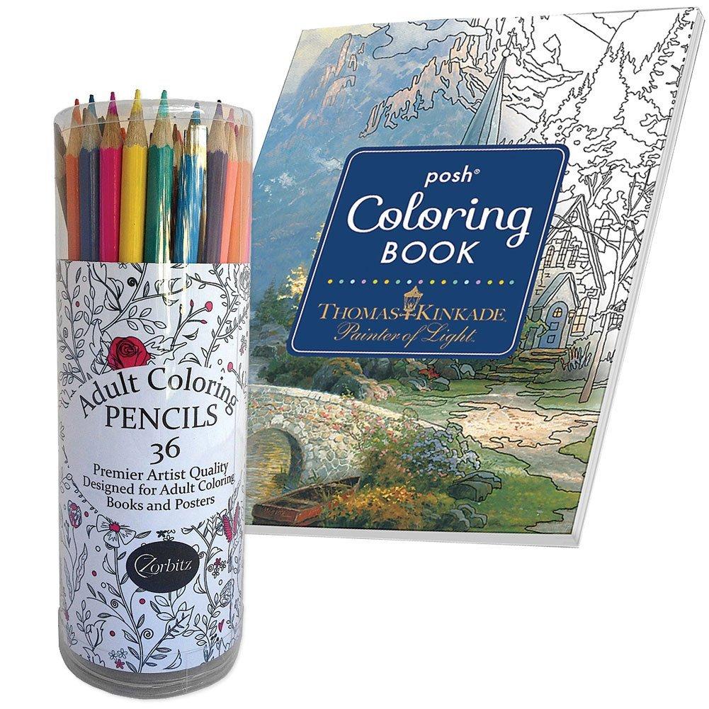 (Set) Adult Artist Colored Pencils ; 128 Page Thomas Kink...