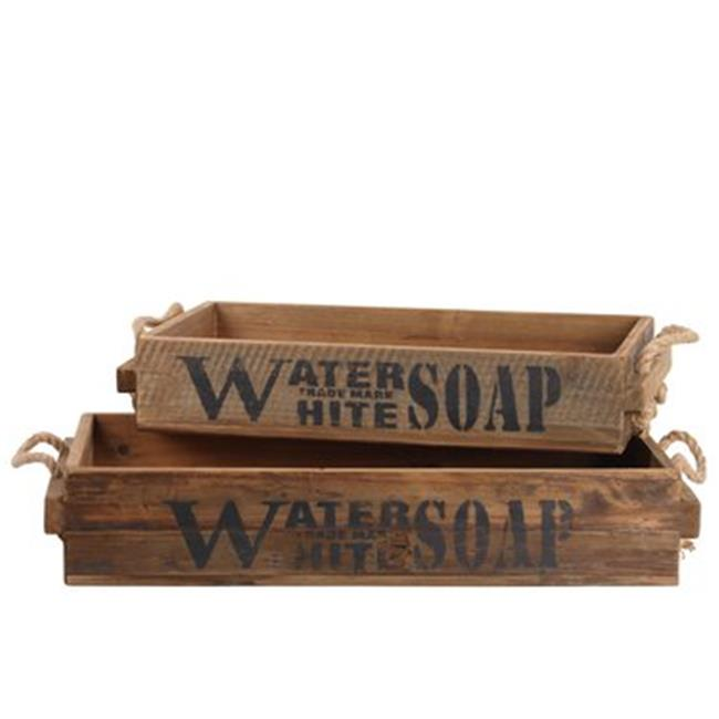 Urban Trends Collection 44707 Wood Rectangular Tray with Rope Side Handles Water Trademark White Soap Label, Natural Finish, Brown - Set of 2 - image 1 de 1
