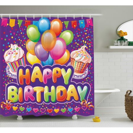 Birthday Decorations Shower Curtain, Purple Backdrop with Creamy Cupcakes Hearts Confetti Rain Balloons, Fabric Bathroom Set with Hooks, 69W X 70L Inches, Multicolor, by Ambesonne