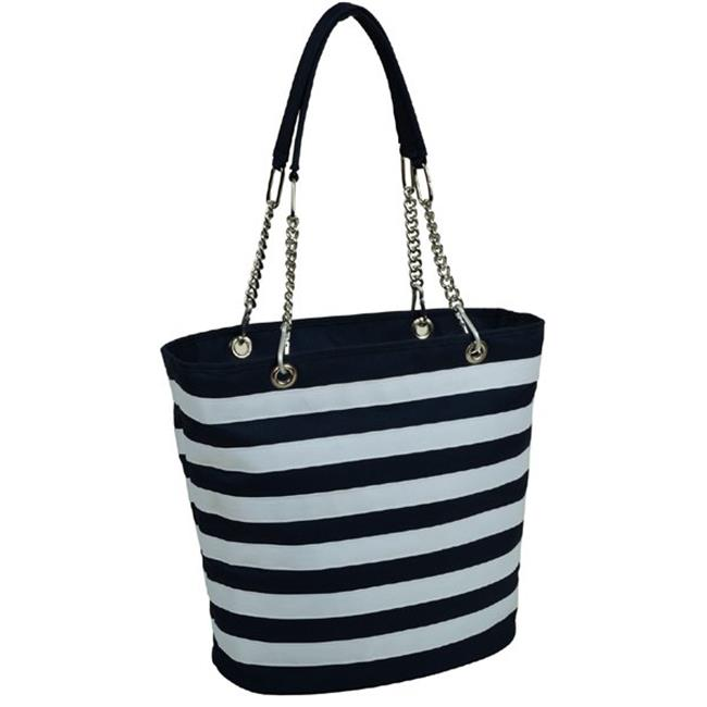 Picnic at Ascot 422-BS Stripe Cooler Tote-Blue & White