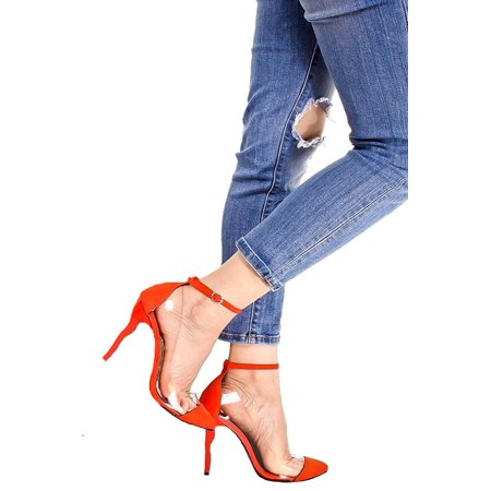 7d38d76ce0b Fourever Funky - Red Suede Pointed Toe Clear Design Ankle Strap Curve  Stiletto Heel Pumps - 7.5 - Walmart.com