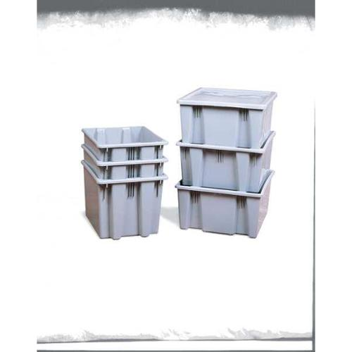 Rubbermaid 500 lb Capacity, Stack and Nest Container, Gray FG172200GRAY