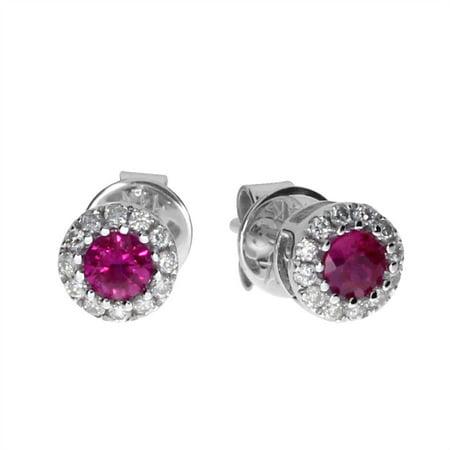 14K White Ruby and Diamond Round Earring 14k Ruby Diamond Earring