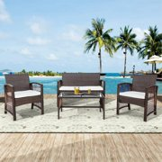 4 Pieces Outdoor Furniture on Clearance, Sofa Wicker Conversation Set with Two Single Sofa, One Loveseat, Tempered Glass Table, Patio Furniture Sets for Porch Poolside Backyard Garden, Q8528