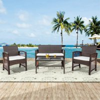 4 Pieces Outdoor Furniture on Clearance, Sofa Wicker Conversation Set with Two Single Sofa, One Loveseat, Tempered Glass Table, Patio Furniture Sets for Porch Poolside Backyard Garden, Q8580