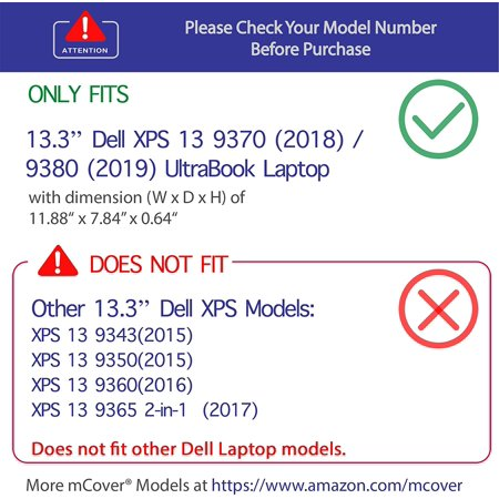 "mCover Hard Shell Case for 13.3"" Dell XPS 7390 Non 2 in 1/9380 / 9370 Models (**NOT Fitting Older XPS 13"" L321X L322X - image 3 of 4"