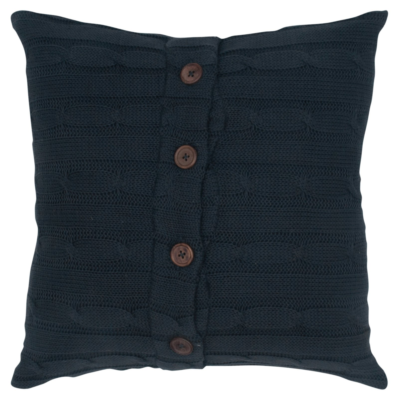 """Rizzy Home Cable Knit Buttoned Back Cotton Decorative Throw Pillow, 18"""" x 18"""", Mocha"""