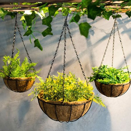 1pc Wire Coconut Palm Baskets Flowers Plants Fleshy Flower Pot Chain Hanging Decoration for Garden Porch Balcony Indoor Outdoor 8 Inch - image 3 of 5