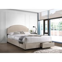 Newdale Queen 2-Drawer Upholstered Storage Bed Beige