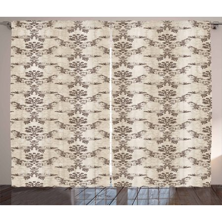 Damask Pattern and French Country Home Decor Victorian Style Curtain 2 Panel Set