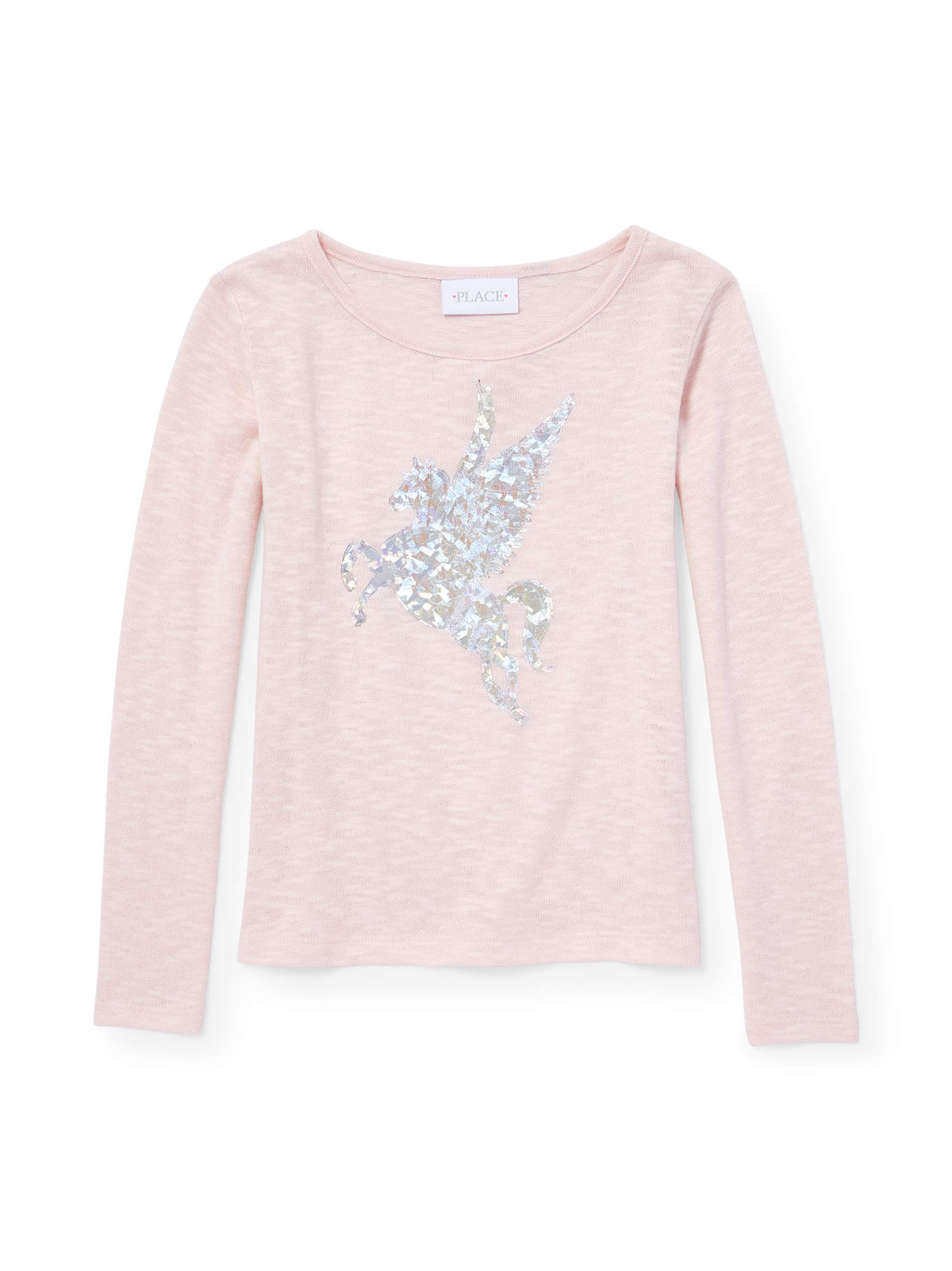Foil Graphic Sweater Knit Long Sleeve Top (Little Girls & Big Girls)