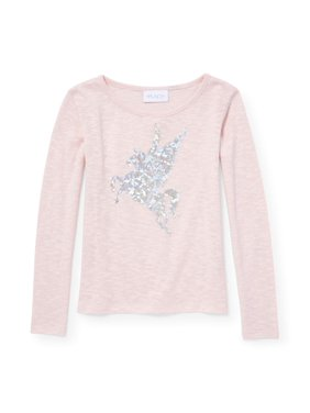 c806b191e52 Product Image Foil Graphic Sweater Knit Long Sleeve Top (Little Girls   Big  Girls)