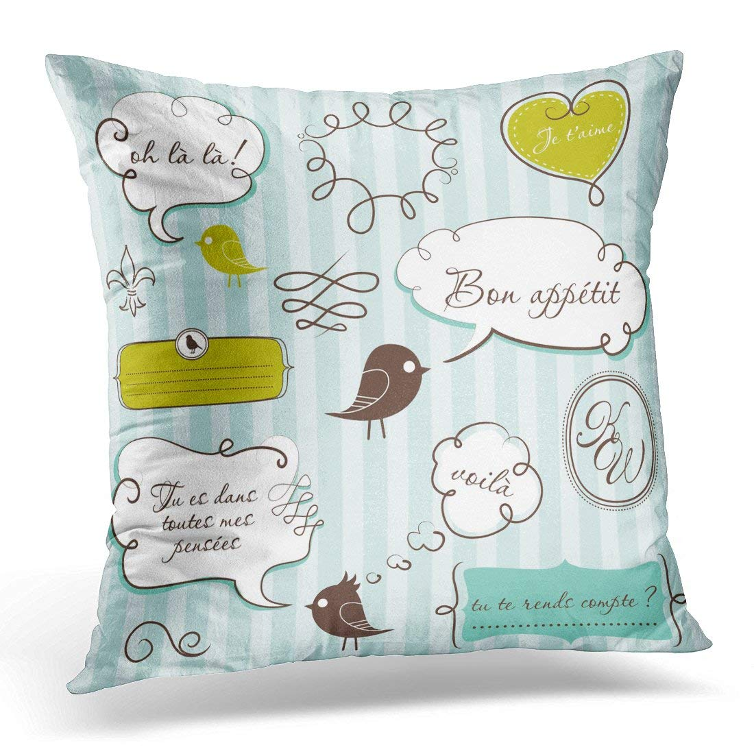 ARHOME Teen Speech Bubbles in French Style Love Pillow Case Pillow Cover 20x20 inch