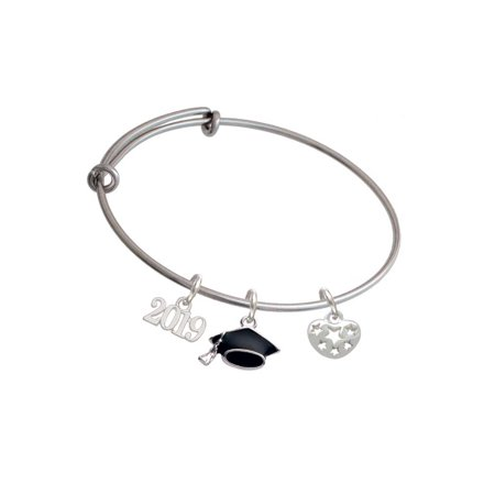Small Cut Out Football Charm - Silvertone Small Heart with Cut Out Stars - 2019 Graduation Charm Bangle Bracelet