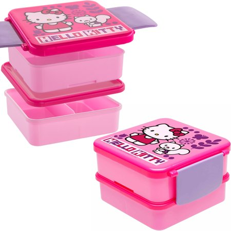 0fb015e1539a Hello Kitty (2 Sets Of 4pc) Bento Boxes Plastic Kids Lunch Food Storage  Containers